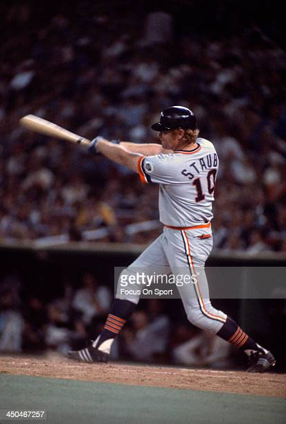 Rusty Staub of the Detroit Tigers and the American League Allstars bats against the National League during Major League Baseball 1976 AllStar game...