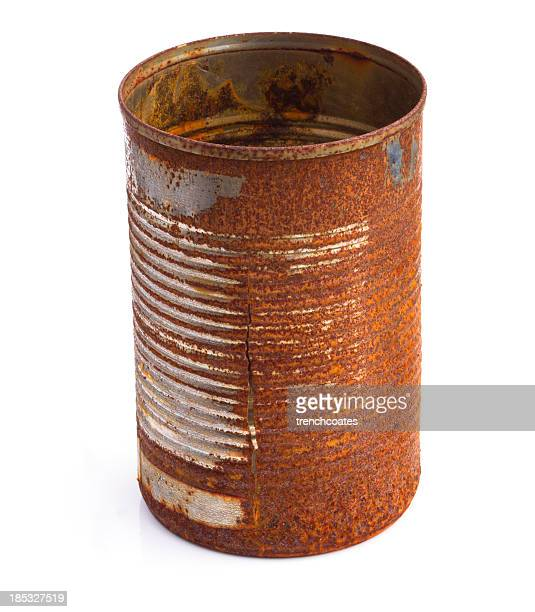 Rusty tin can corroded and split