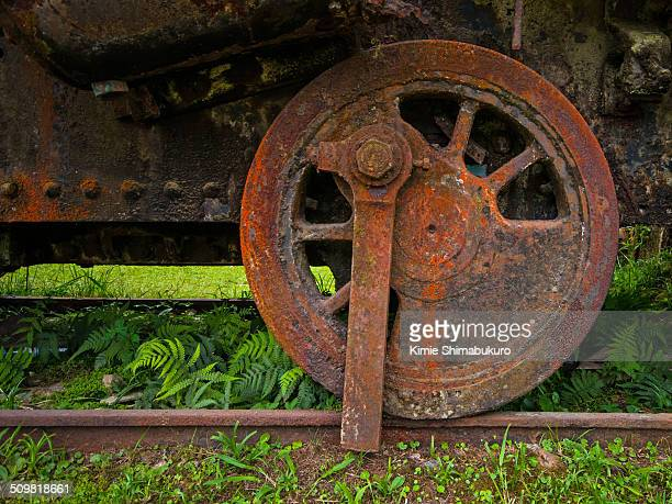 Rusty train wheel