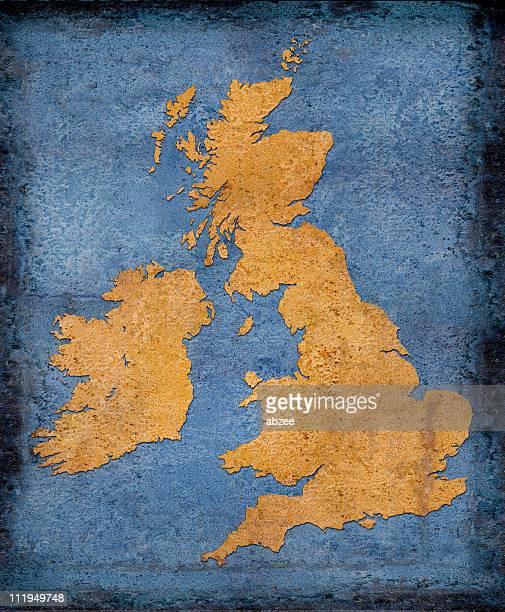 Rusty UK and Ireland on blue toned background