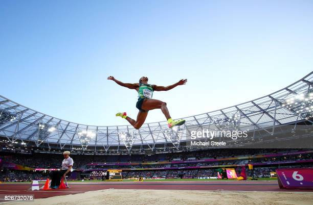 Ruswahl Samaai of South Africa competes in the Men's Long Jump final during day two of the 16th IAAF World Athletics Championships London 2017 at The...