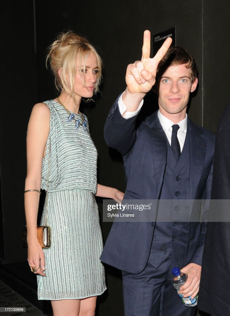 Ruta Gedmintas and <a gi-track='captionPersonalityLinkClicked' href=/galleries/search?phrase=Luke+Treadaway&family=editorial&specificpeople=737104 ng-click='$event.stopPropagation()'>Luke Treadaway</a> leaving Apollo Theatre on July 1, 2013 in London, England.