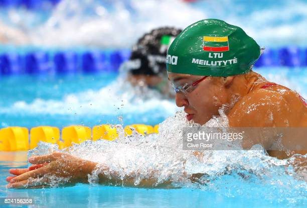 Ruta Meilutyte of Lithuania competes during the Women's 50m Breaststroke heats on day sixteen of the Budapest 2017 FINA World Championships on July...