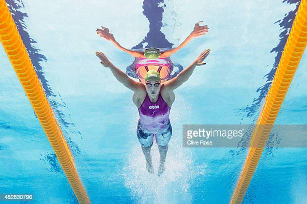 Ruta Meilutyte of Lithuania competes in the Women's 100m Breaststroke heats on day ten of the 16th FINA World Championships at the Kazan Arena on...