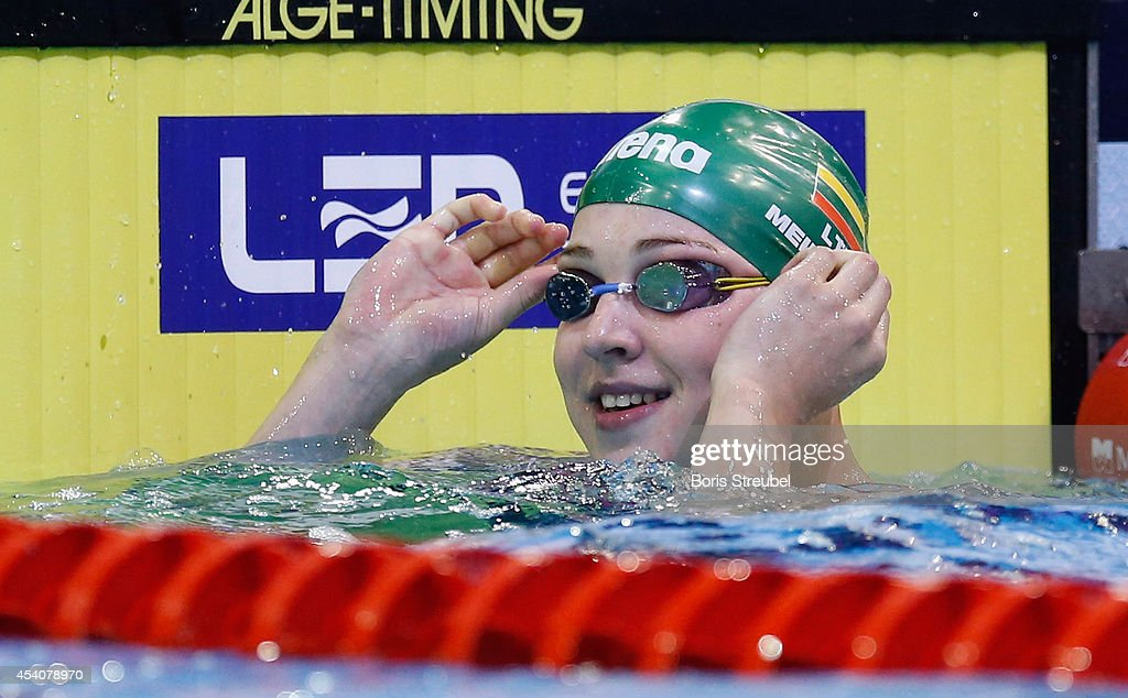 Ruta Meilutyte of Lithuania reacts after winning the gold medal in the women's 50m breaststroke final during day 12 of the 32nd LEN European Swimming Championships 2014 at Europa-Sportpark on August 24, 2014 in Berlin, Germany.