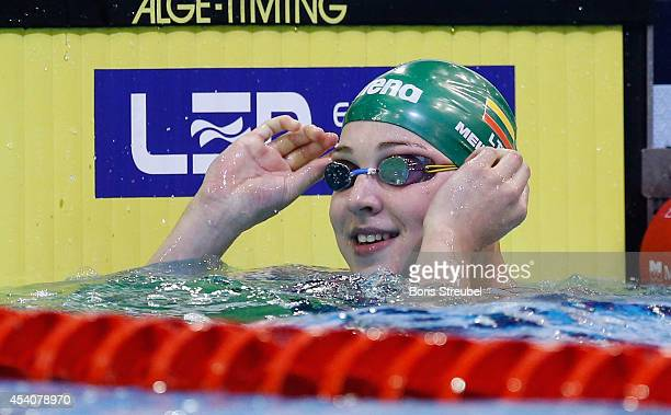 Ruta Meilutyte of Lithuania reacts after winning the gold medal in the women's 50m breaststroke final during day 12 of the 32nd LEN European Swimming...