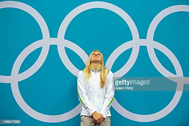 Ruta Meilutyte of Lithuania reacts during the medal ceremony for the Women's 100m Breaststroke on Day 3 of the London 2012 Olympic Games at the...