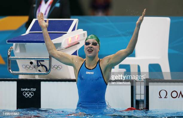 Ruta Meilutyte of Lithuiania celebrates victory in the Womens 100m Breaststroke during the 2012 London Olympics at the Aquatics Centre on July 30...