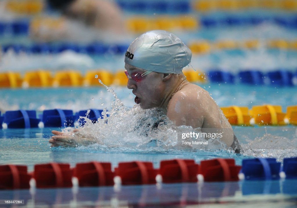 <a gi-track='captionPersonalityLinkClicked' href=/galleries/search?phrase=Ruta+Meilutyte&family=editorial&specificpeople=7539009 ng-click='$event.stopPropagation()'>Ruta Meilutyte</a> of Plymouth Leander in action in her heat of the Women's Open 50m Breaststroke during The British Gas International Swimming Meet at John Charles Centre for Sport on March 10, 2013 in Leeds, England.