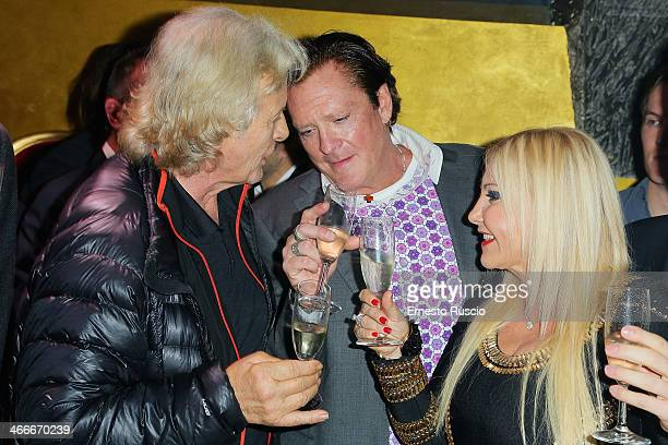 Rutger Hauer Michael Madsen and producer Monika Bacardi attend the 'Sights Of Death' Pre Berlinale Party' at NUR BAR on February 2 2014 in Rome Italy