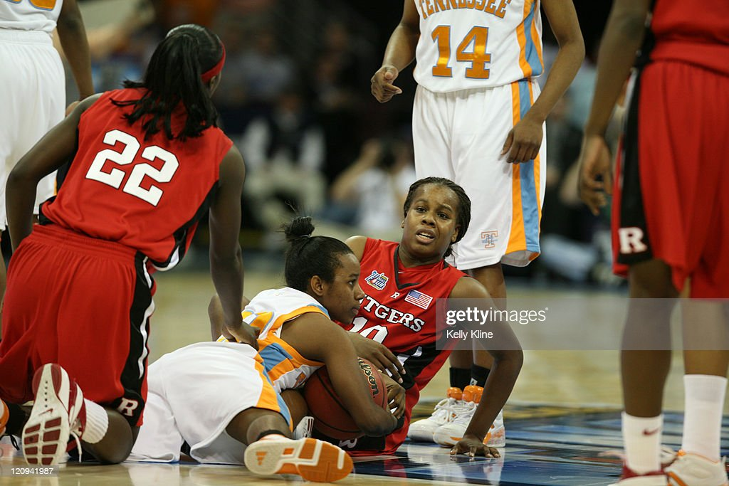Rutgers Epiphanny Prince is frustrated after a turnover during the NCAA Women's Basketball National Championship at Quicken Loans Arena in Cleveland...