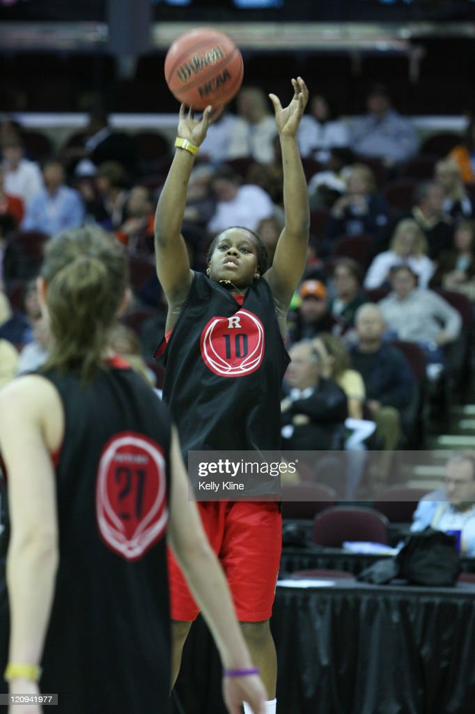 Rutgers freshman guard Epiphanny Prince pulls up for a jumper in preparation for the semifinal game during the Final Four at Quicken Loans Arena...