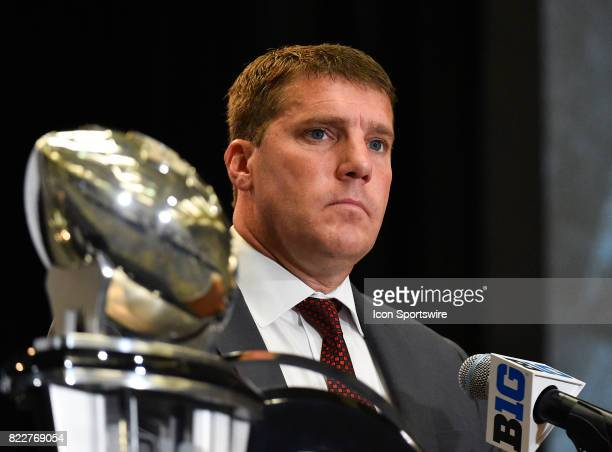 Rutgers head coach Chris Ash on the podium addressing the media during the Big Ten Media Days on July 25 2017 at Hyatt Regency McCormick Place...