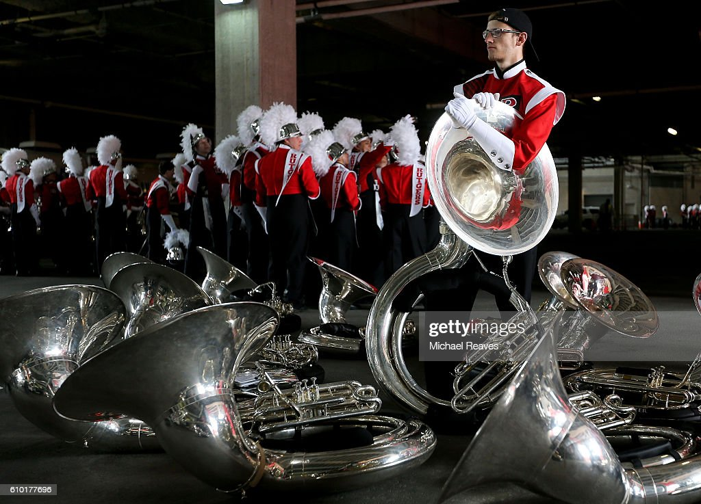 A Rutgers Scarlet Knights band member looks on prior to the game against Iowa Hawkeyes at High Point Solutions Stadium on September 24, 2016 in Piscataway, New Jersey.