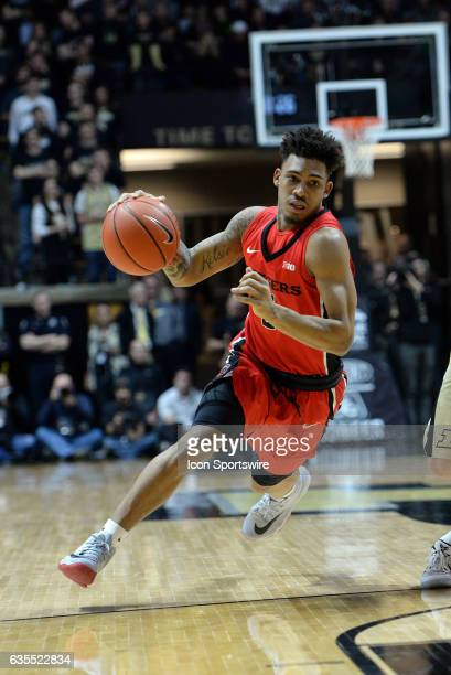 Rutgers Scarlet Knights guard Corey Sanders dribbles into the lane during the Big Ten conference game against the Purdue Boilermakers on February 14...