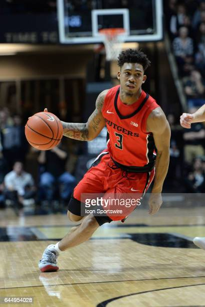 Rutgers Scarlet Knights guard Corey Sanders dribbles the ball during the Big Ten conference game against the Purdue Boilermakers on February 14 at...