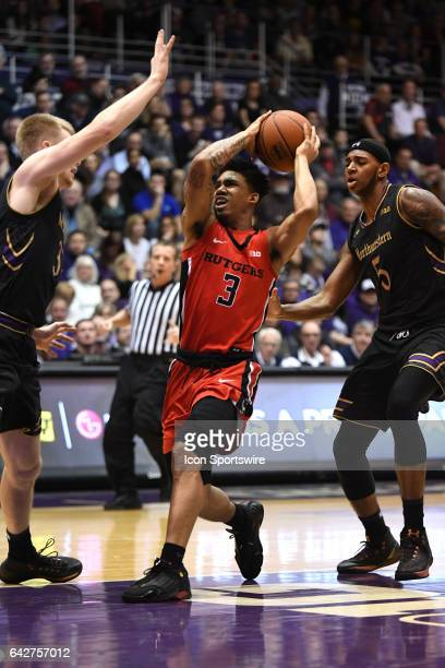 Rutgers Scarlet Knights guard Corey Sanders drives towards the basket in the first half during a game between the Rutgers Scarlet Knights and the...