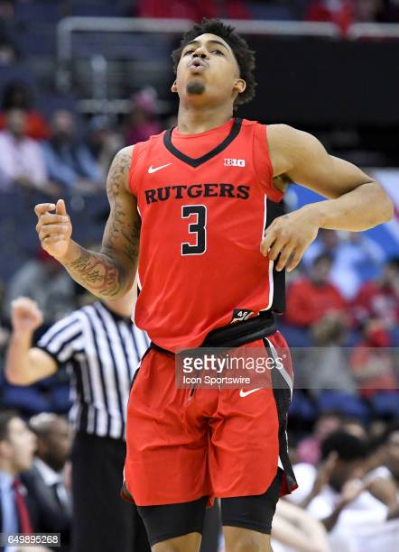 Rutgers Scarlet Knights guard Corey Sanders reacts after being called for a second half foul against the Ohio State Buckeyes during the first round...