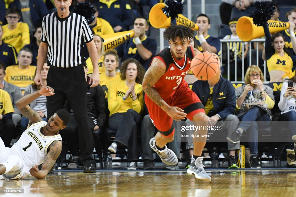 Rutgers Scarlet Knights guard Corey Sanders (3) runs the court on a fast break during the Michigan Wolverines game versus the Rutgers Scarlet Knights on Sunday January 21, 2018 at Crisler Center Field in Ann Arbor, MI.