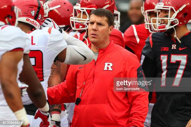 Rutgers Scarlet Knights head coach Chris Ash prior to the Rutgers Scarlet Knights Spring Football game played on April 22 2017 at High Point...