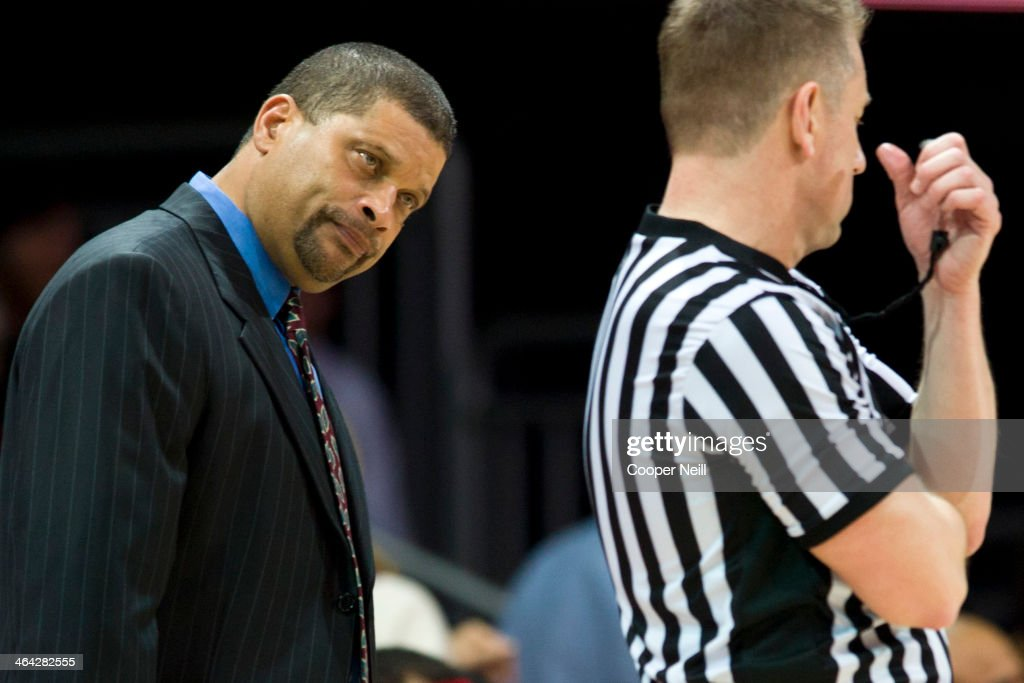 Rutgers Scarlet Knights head coach Eddie Jordan has words with an official against the SMU Mustangs on January 21 2014 at Moody Coliseum in Dallas...