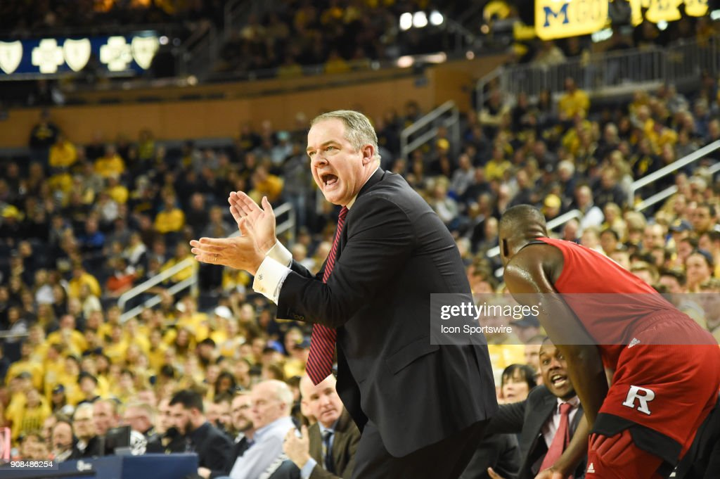 Rutgers Scarlet Knights head coach Steve Pikiell cheers his defense during the Michigan Wolverines game versus the Rutgers Scarlet Knights on Sunday January 21, 2018 at Crisler Center Field in Ann Arbor, MI.