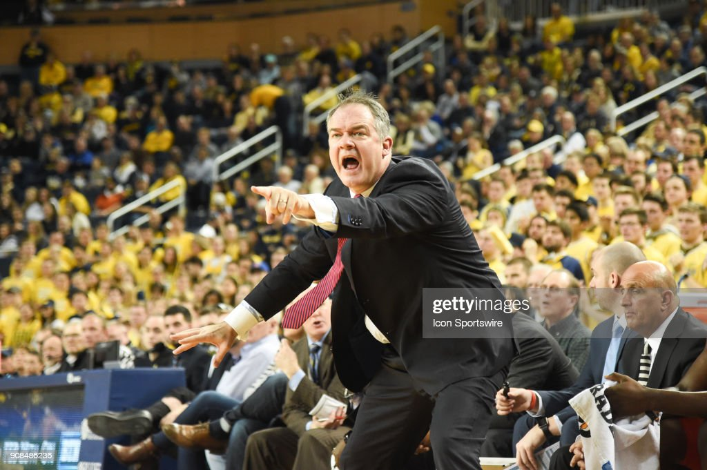 Rutgers Scarlet Knights head coach Steve Pikiell yells at the referee during the Michigan Wolverines game versus the Rutgers Scarlet Knights on Sunday January 21, 2018 at Crisler Center Field in Ann Arbor, MI.