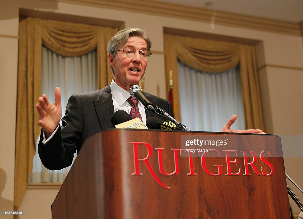 Rutgers University Board of Governors Chair Ralph Izzo addresses the media during a press conference at Rutgers University announcing the resignation of Athletic Director Tim Pernetti on April 5, 2013 in New Brunswick, New Jersey. Pernetti resigned after the firing of the basketball coach Mike Rice for abusive conduct toward players.