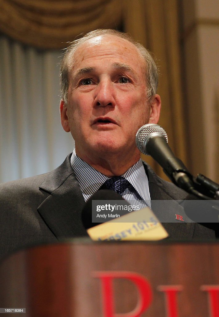 Rutgers University President Robert L. Barchi addresses the media during a press conference at Rutgers University announcing the resignation of Athletic Director Tim Pernetti on April 5, 2013 in New Brunswick, New Jersey. Pernetti resigned after the firing of the basketball coach Mike Rice for abusive conduct toward players.