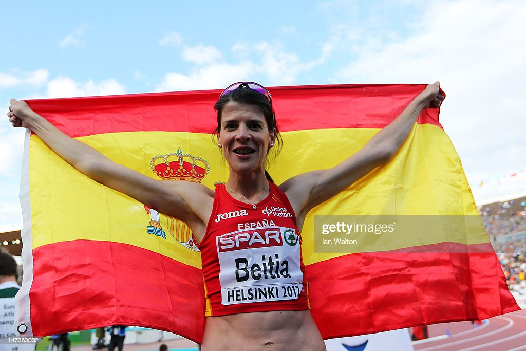 Ruth Beitia of Spain celebrates winning gold in the Women's High Jump Final during day two of the 21st European Athletics Championships at the Olympic Stadium on June 28, 2012 in Helsinki, Finland