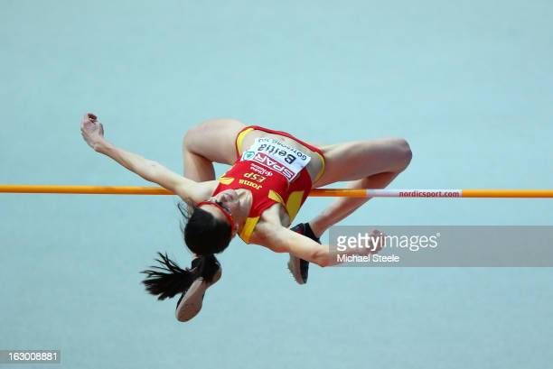 Ruth Beitia of Spain competes in the Women's High Jump Final during day three of European Indoor Athletics at Scandinavium on March 3 2013 in...
