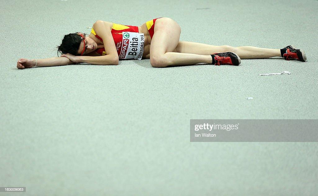 Ruth Beitia of Spain lies on the ground during Women's High Jump Final during day three of European Indoor Athletics at Scandinavium on March 3, 2013 in Gothenburg, Sweden.