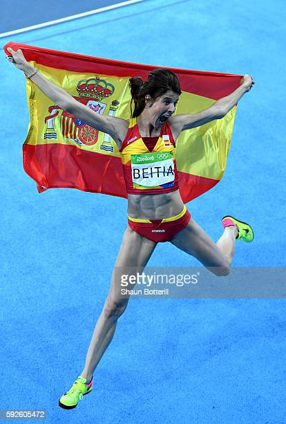 Ruth Beitia of Spain reacts after winning gold in the Women's High Jump Final on Day 15 of the Rio 2016 Olympic Games at the Olympic Stadium on...