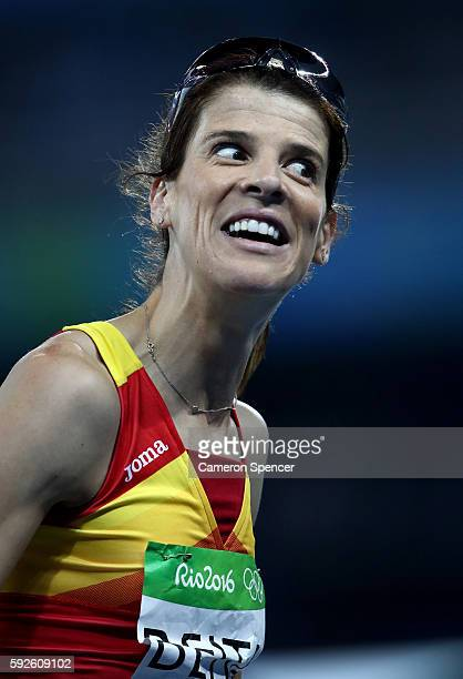 Ruth Beitia of Spain reacts during the Women's High Jump Final on Day 15 of the Rio 2016 Olympic Games at the Olympic Stadium on August 20 2016 in...