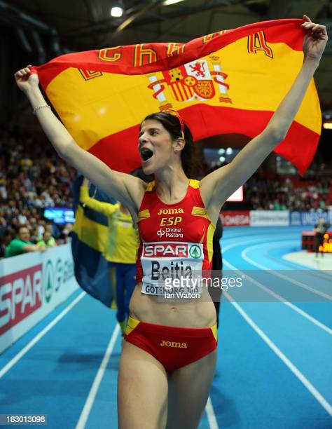 Ruth Beitia of Spain wins gold in the Women's High Jump Final during day three of European Indoor Athletics at Scandinavium on March 3 2013 in...
