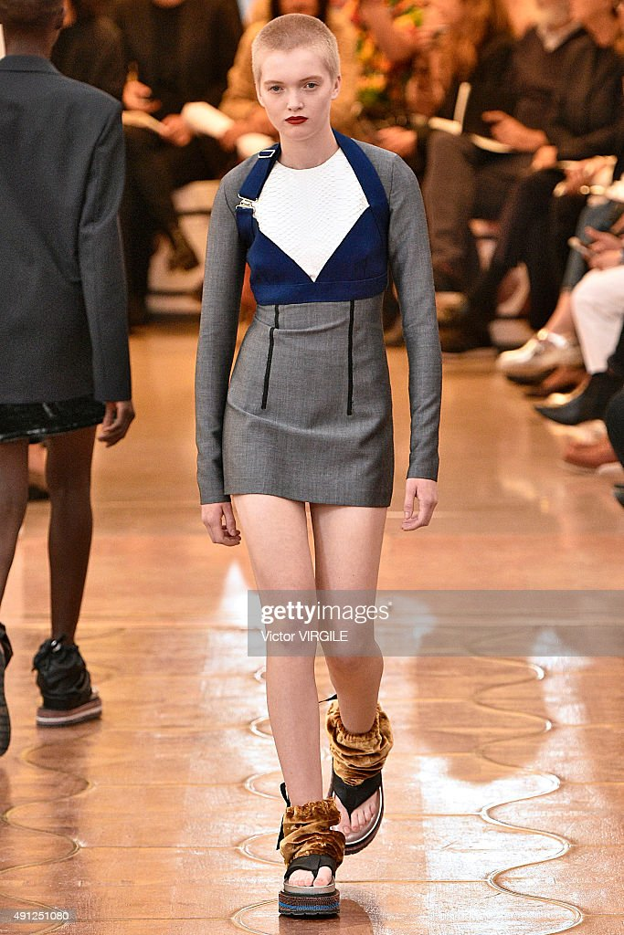 Ruth Bell walks the runway during the Acne Studios Ready to Wear show as part of the Paris Fashion Week Womenswear Spring/Summer 2016 on October 3...