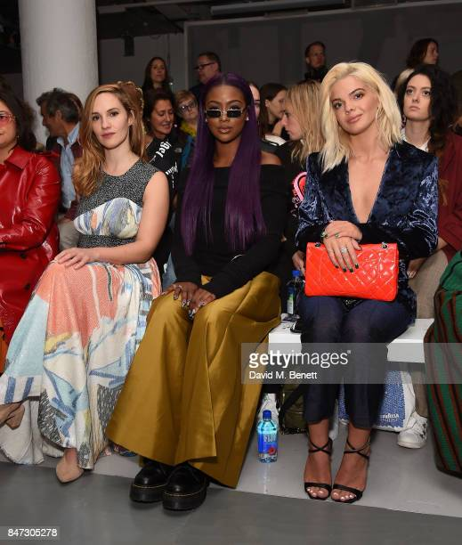 Ruth Bradley Justine Skye and Louise Johnson attend the Teatum Jones show during London Fashion Week September 2017 at BFC Show Space on September 15...