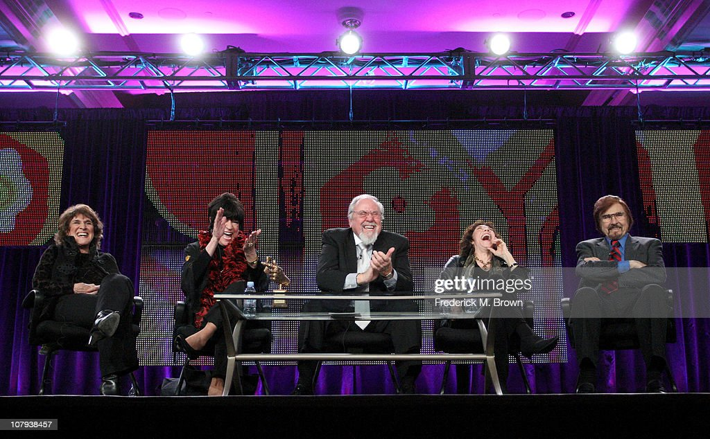 Ruth Buzzi JoAnne Worley producer George Schlatter Lily Tomlin and Gary Owens speak during the 'The Best of LaughIn' panel at the PBS portion of the...