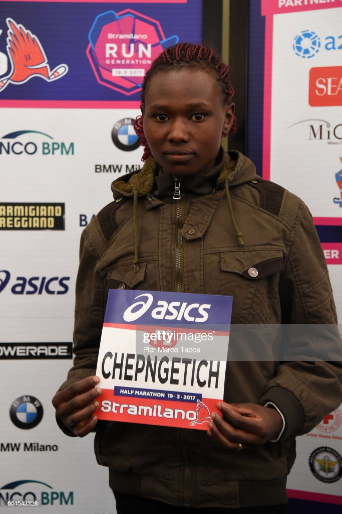 Ruth Chepngetich attends a Stramilano press conference on March 17, 2017 in Milan, Italy.