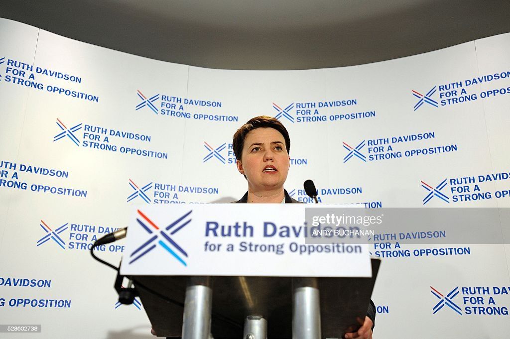 Ruth Davidson, leader of the Scottish Conservative Party, addresses a press conference in Edinburgh, Scotland, on May 6, 2016. The Scottish Conservative party came second Friday to the SNP in Scottish regional and local elections with 31 seats. The party has been deeply unpopular in Scotland since the 1980s premiership of Margaret Thatcher but its fortunes have turned around under current leader Ruth Davidson. / AFP / Andy Buchanan