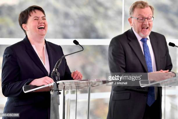 Ruth Davidson leader of the Scottish Conservatives and David MundellÊScottish Secretary make a statement on the SNP referendum announcement on March...