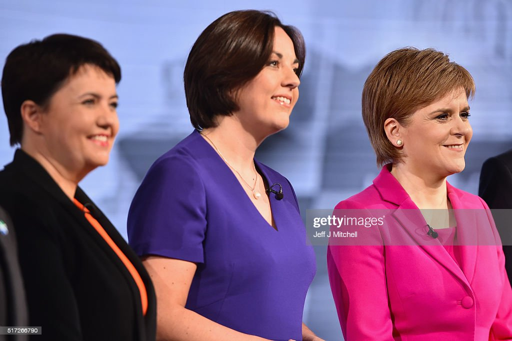Ruth Davidson of the Scottish Conservatives Scottish Labour's Kezia Dugdale and SNP leader Nicola Sturgeon attend the BBC Scotland Holyrood Election...