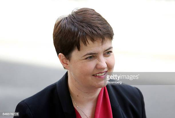 Ruth Davidson Scotland's Conservatives party leader speaks to reporters as she departs a cabinet meeting in 10 Downing Street in London UK on Tuesday...