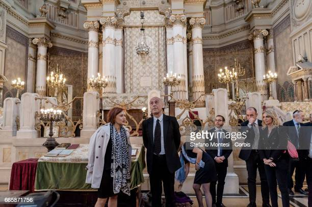 Ruth Dureghello President of the Jewish Community of Rome and Marco Minniti Interior Minister during a visit to the Jewish Community of Rome in the...