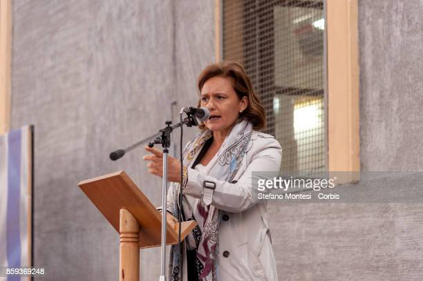 Ruth Dureghello President of the Jewish Community of Rome delivers a speech during the commemoration of the 1982 terrorist attack at the Great...