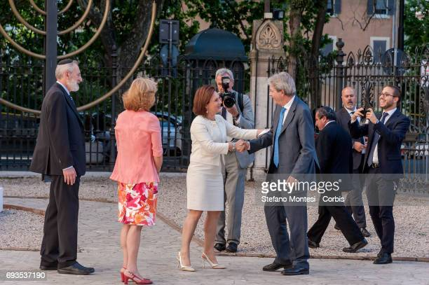 Ruth Dureghello President of the Jewish Community of Rome greets Italian Prime Minister Paolo Gentiloni on arrival for the 50th anniversary...