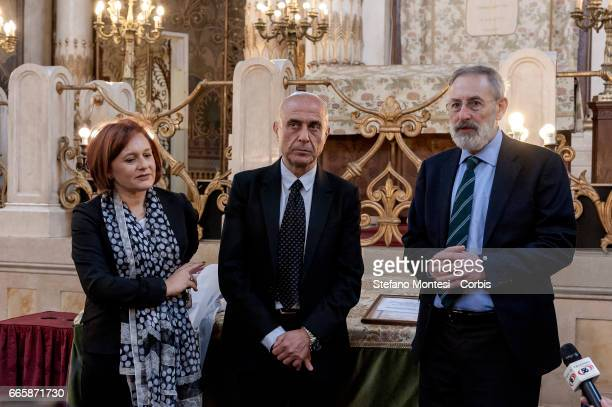 Ruth Dureghello President of the Jewish Community of Rome Marco Minniti Interior Minister and Riccardo Di Segni Chief Rabbi during a visit to the...