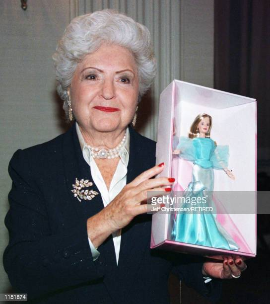 Ruth Handler a cofounder of Mattel Toys Inc and creator of the Brabie Doll holds a Bardie that was created for the 40th Anniversary party for the...