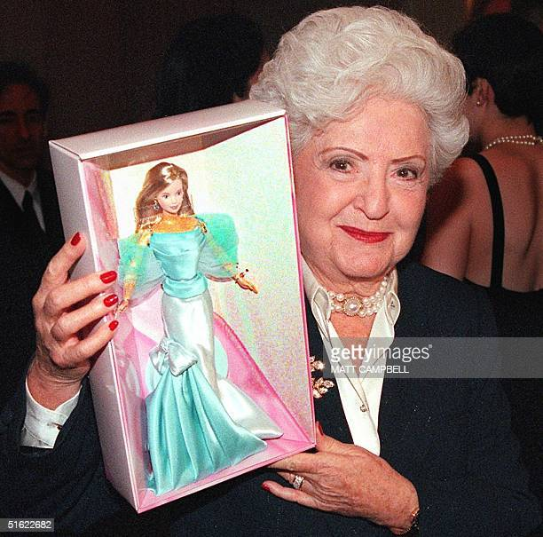 Ruth Handler Mattel Inc cofounder and inventor of the Barbie Doll displays the special 40th Anniversary Barbie at a press conference 07 February in...