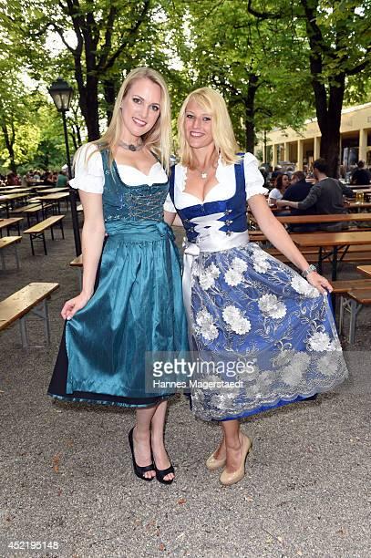 Ruth Hofmann and Sandra Baumgartner attend the Sixt ladies dirndl dinner on July 15 2014 in Munich Germany